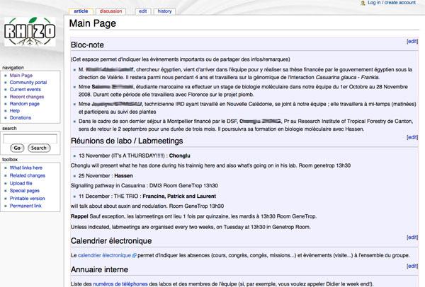 wiki équipe de recherche scientifique