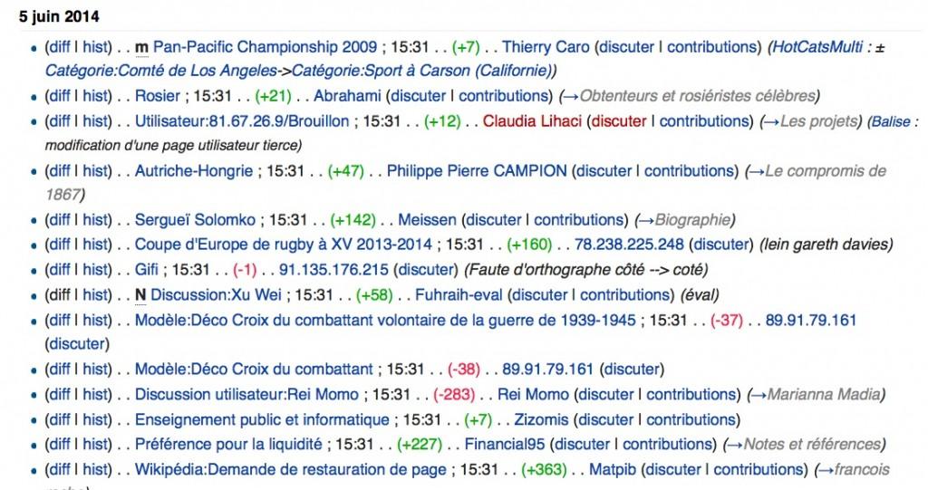 la liste des modifications récentes sur Wikipédia, rend visibles contributions en cours et induits l'action d'autres contributeurs pour corriger, compléter, annuler.